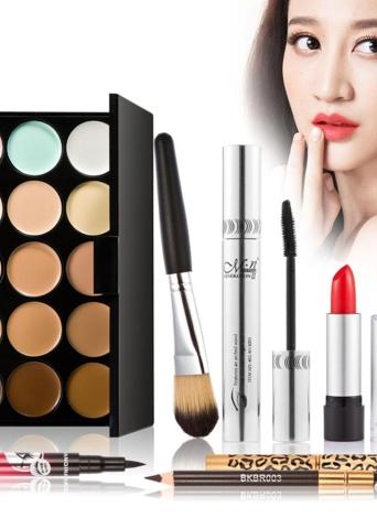 7pcs maquiagem presente luxuoso conjunto Pack 15 cor creme corretivo paleta tons terra delineador rímel lápis de sobrancelha Lipbrush batom maquiagem escova com bolsa de maquiagem de camuflagem