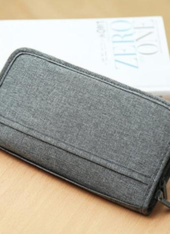 Travel Wallet Family Passport Credit Card Organizer Zipper Case Passports Holder Tickets Boarding Passes Cash Bag for Men & Women Grey