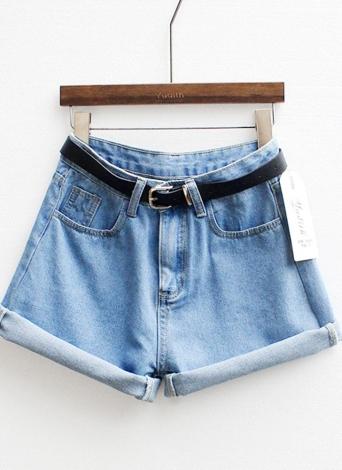 Старинные женщин шорты джинсы негабаритных высокой талией Роллинг вверх манжеты короткие брюки светло-голубой