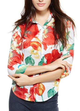 Vintage Colorful Floral Print Turn-down Collar 3/4 Sleeve Chiffon Blouse