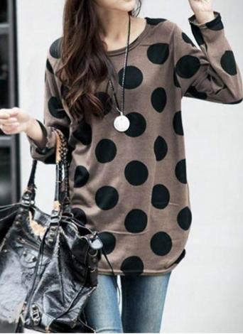 Coreano modo delle donne Slouchy maglietta Pois girocollo in maglia camicia lunga Pullover Top Caffè