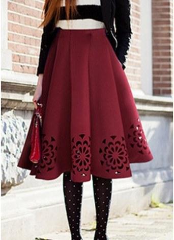 e3da9af63 un tamaño borgoña Falda midi plisada de mujer quemar cintura alta ...