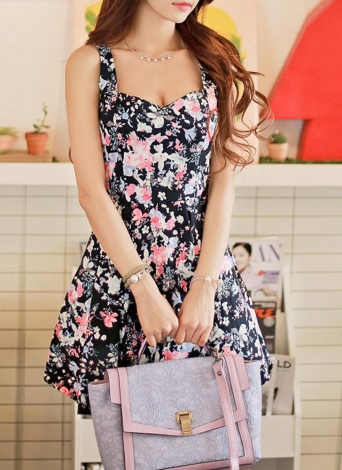 Women Mini Dress Floral Print Zipper Back V Neck Pleated Dress
