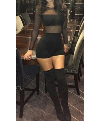 Sexy Mesh Lace Round Neck Long Sleeve Women's Bodycon Rompers