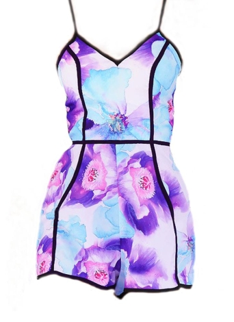 Chic Fresh Floral Print Adjustable Strap V Neck Sleeveless Rompers