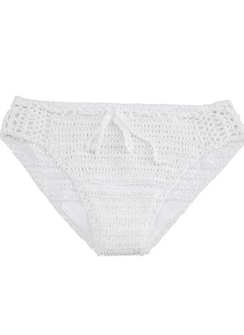 Sexy Frauen Bikini Bottom Gestrickter Stoff Drawstring Hollow Out Low Waist Strand kurzer Hose weiß