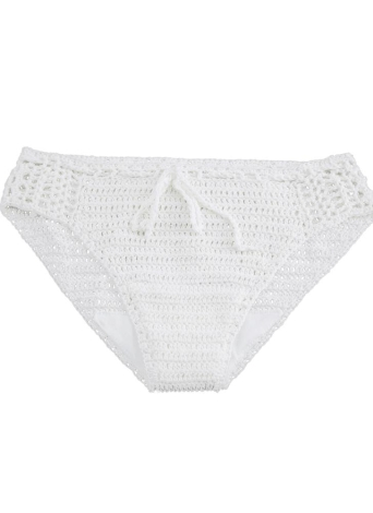 Donne Sexy Bikini Bottom a maglia tessuto coulisse Hollow Out Low Waist spiaggia bianco pantaloni corti