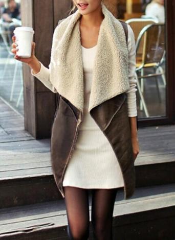 Neue Mode Frauen Weste Mantel Wildleder Kunstpelze Revers ärmelloses Fleece lange Weste Jacke Oberbekleidung Kaffee