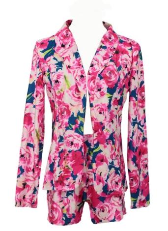 Tuta donna nuove pezzi due stampa floreale revers a maniche lunghe Blazer Shorts Pantaloni Casual Twin Set Rose