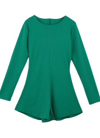 Chic Wide Leg Zipper Back Round Neck Long Sleeve Green Rompers