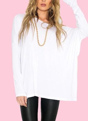 Nuova Europa donne sciolto t-shirt O collo spalla manica lunga Casual moda solida Tee Top Pullover nero/bianco sporco