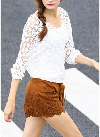 Chic Crochet Lace V-Neck Long Sleeve White Blouse with Vest