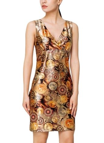 Elegante vestito senza maniche in Bodycon da stampa vintage con scollo a V ae7bd88f858