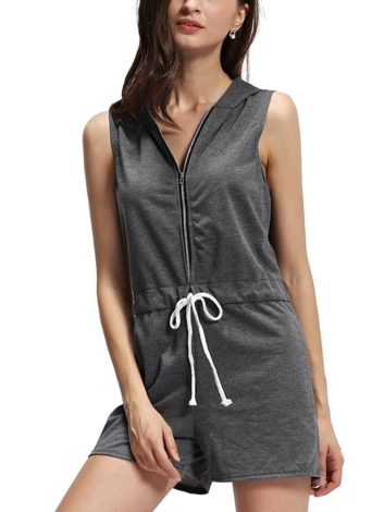 Casual Front Zipper Drawstring Waist Sleeveless Hooded Playsuit Romper