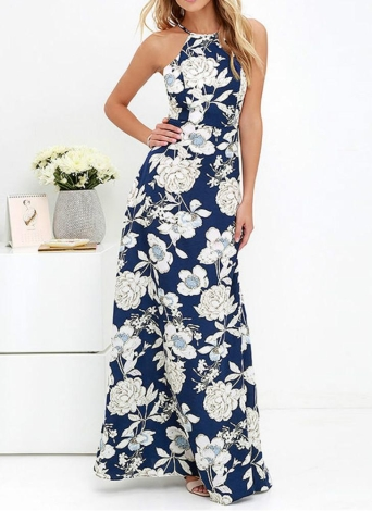 New Sexy Women Maxi Dress Halter Neck Floral Print sans manches Summer Beach Holiday Long Slip Robe Bleu / Noir