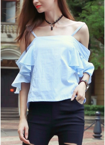 Stripe Off Shoulder Spaghetti Strap Ruffle Crop Top