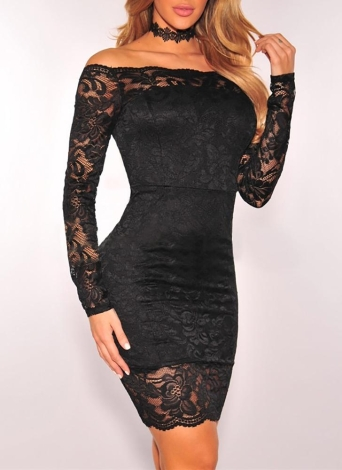 Floral Lace Off Shoulder Lining Elegant Party Dress