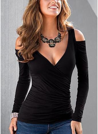 Las mujeres nuevo atractivo de la blusa de la Cruz frente acanalado fotografica Cold Shoulder sin espalda cuello en V tapas ocasionales Tee