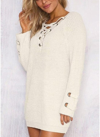 Women V Neck Striped Bandage Cross Ties Knitted Sweater