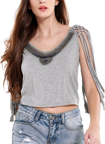 Sexy Frauen Europa Crop Top Friesen Tassel ärmel O-Ansatz Tank Top Solid Color Grau
