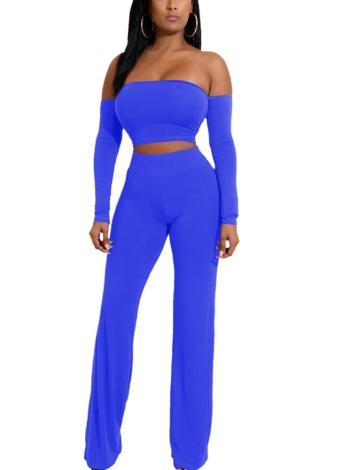 Vendajes sin respaldo Lace Up Slim Crop Top Pants Pantalones Club Ladies Suits