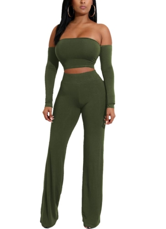 Rückenfreie Bandagen Lace Up Slim Crop Top Hosen Hosen Club Damen Anzüge