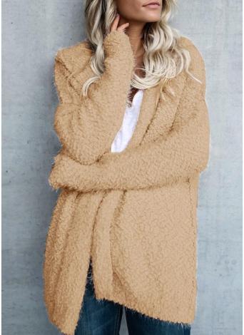Mode Femmes Polaire À Capuche Cardigan Ouvert Avant Manches Longues Solide Chaud Hoodie Survêtement Lâche Chandail Manteau