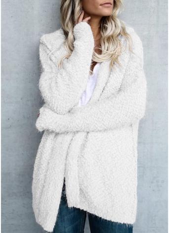 Moda donna in pile con cappuccio Cardigan aperto davanti manica lunga solido caldo con cappuccio Capispalla cappotto maglione allentato