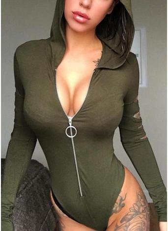Tute sexy da donna con maniche lunghe con cerniera e cappuccio