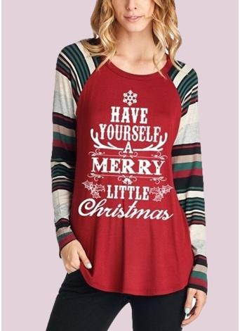 Autumn Winter Women Christmas Snow Letter Print O Neck Pullover T-Shirt
