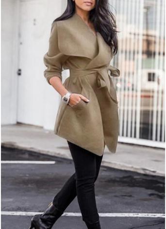 Giacca a manica lunga del manicotto lungo del cappotto del rivestimento del risvolto solido del rivestimento Felpe casuale casuale