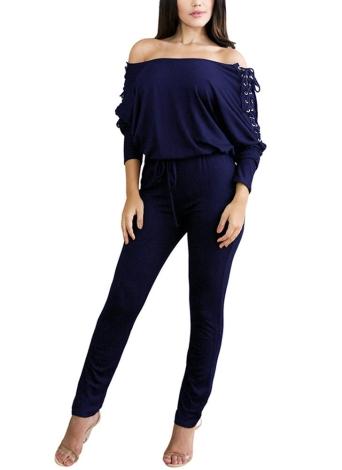 Sólido traje de hombro con cordones vendaje Bodycon mameluco de clubwear mameluco