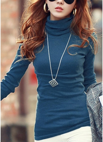 Women Turtleneck  Long Sleeve Regular fit T-Shirt