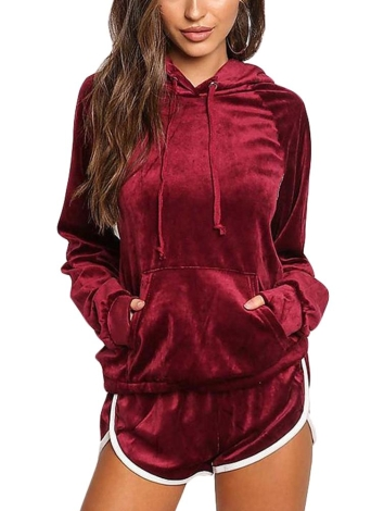 Women's Velvet Kangaroo Pocket Hoodies Sets