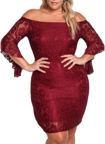 Vestido de renda com tamanho fora do ombro Bodycon Mini vestido Oversize Party Clubwear