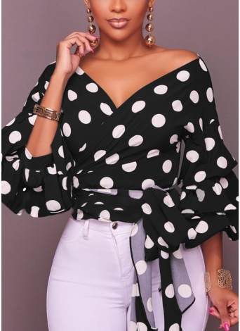 Fashion Casual Cardigan Dot Tribal Print Layer Lantern Sleeve V Neck Blouse Tops