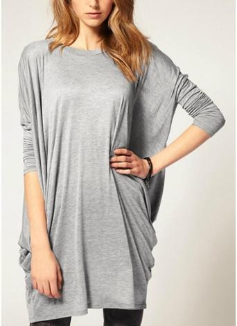 Les femmes chics sur la taille solide O-Neck Batwing T-shirt en tricot à manches longues