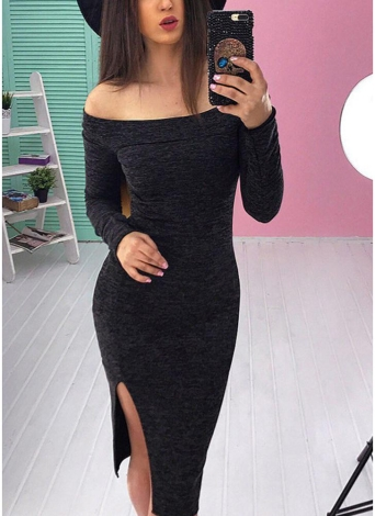 Off The Shoulder Slit Hem Bodycon Vestido Midi