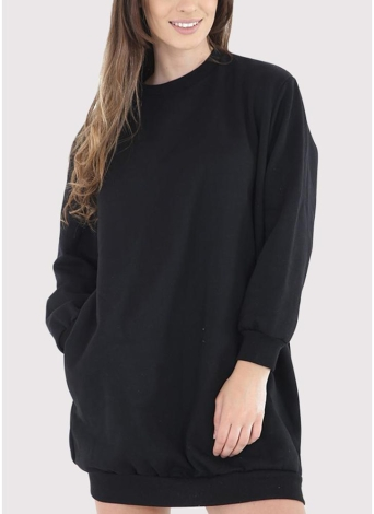 Mode Femmes Plaine Baggy Long O Cou Poches Jumper Long Sweatshirt