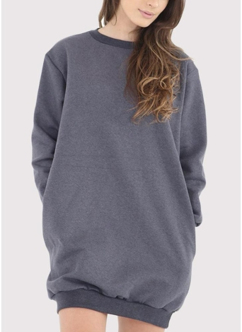 Fashion Women Plain Baggy Long  O Neck Pockets Jumper Long Sweatshirt
