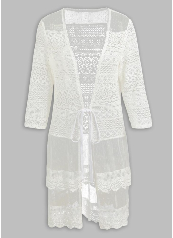 Femmes Boho Lace Long Cover Up Cardigan à col châle