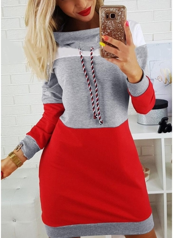 Neue Mode Frauen Sweatshirts Self-tie Pullover Langarm mittel-lange Pullover Lose Tops Grau / Royal Blue