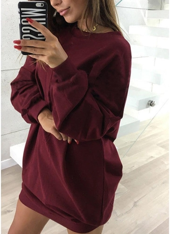 Women Sweatshirt Long Sleeves O-Neck Solid Casual Loose Long Top Pullover
