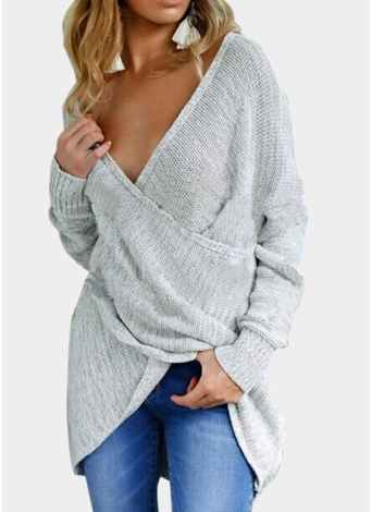 Sexy Femmes Tricoté Pull Croix Profonde V Cou À Manches Longues Solide Pull Jumper Pull Tricot