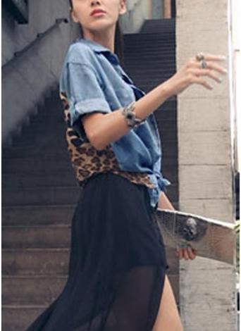 Femmes Denim T-Shirt imprimé léopard col rabattu poches bouton Loose Top
