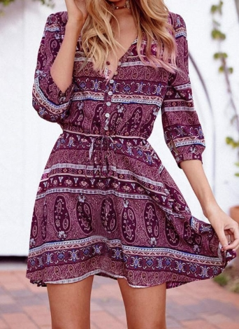 Vintage Boho Floral Print 3/4 Sleeve Bohemian Mini Dress