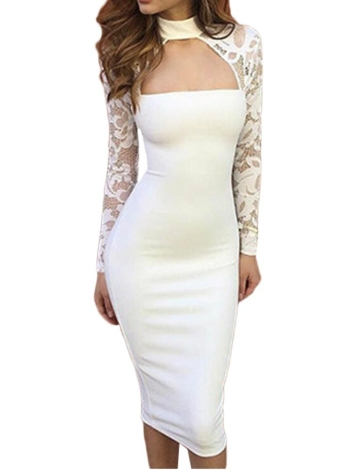 Lace Long Sleeves High Neck Elegant Club Party Slim Sheath Dress