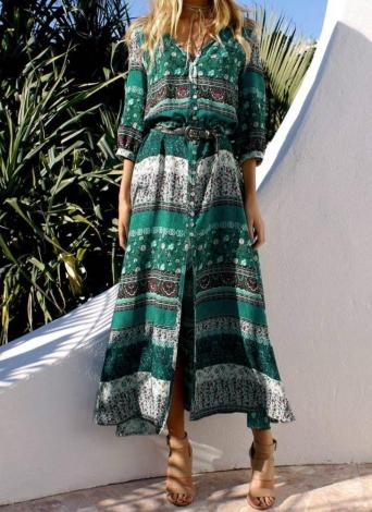 Fashion Women Print V Neck Button Split Long Boho Dress