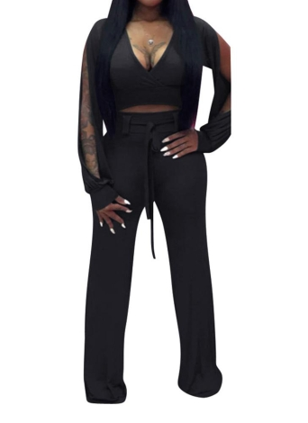 Sexy Women Cut Out Deep Deep V-neck manches longues Casual Club Rompers
