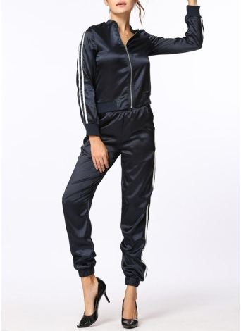 Side Stripe Long Sleeve Zipper Elastic Waist Sports Two Piece Set